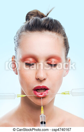 Woman with syringe - csp4740167