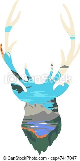 Deer Silhouette isolated on white background. Vector - csp47417047