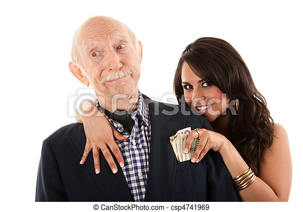 Rich elderly man with gold-digger companion or wife - csp4741969