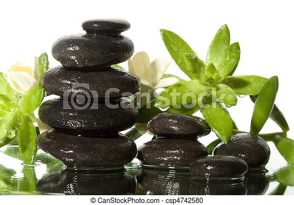 Spa still life with black stones - csp4742580