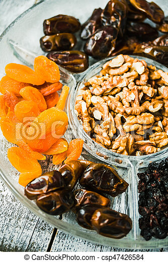 Composition with assorted dried fruits and nuts. Healthy dessert. - csp47426584