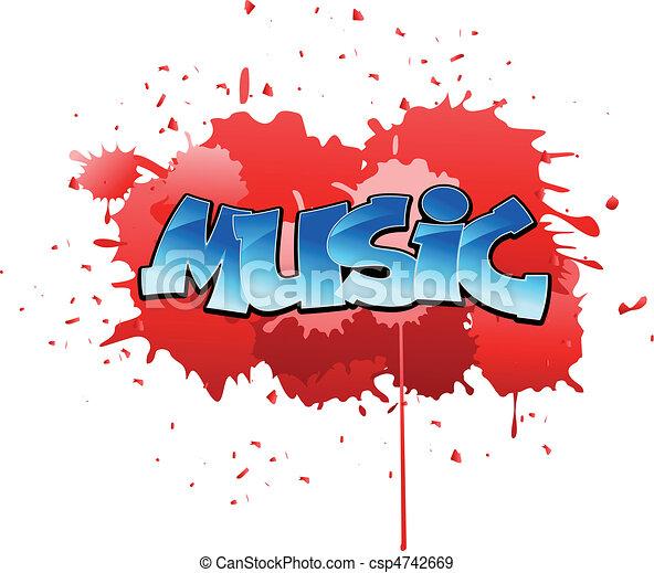 Graffiti music background - csp4742669