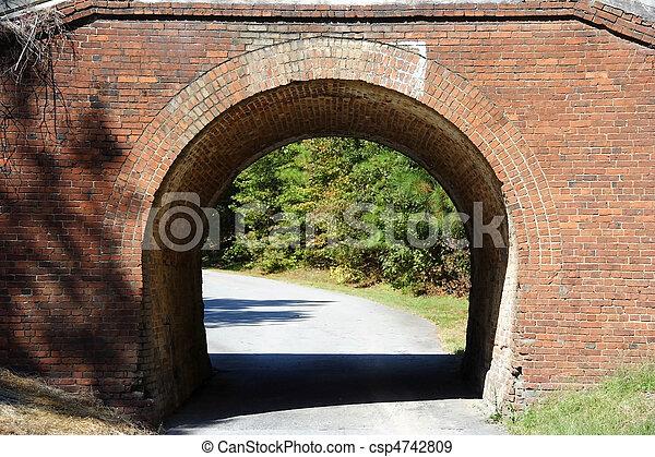 Stock Photographs of Old Brick Bridge, Ocmulgee National ...