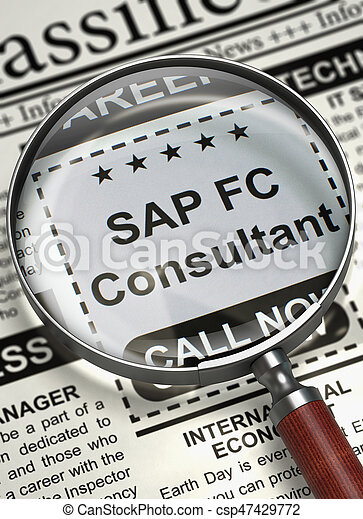 Newspaper with Searching Job SAP FC Consultant. SAP FC Consultant. Newspaper with the Jobs Section Vacancy. Concept of Recruitment. Selective focus. 3D Rendering.