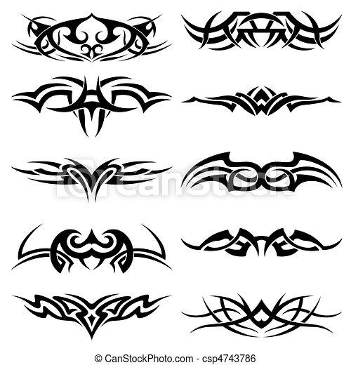 Clip Arte Vetor de tatuagem, tribal, pacote - tribal ... - photo#21