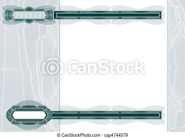 Stock Illustration Of Blank Layout For Banknote Or Voucher - Blank