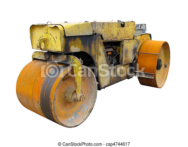 Old rusty yellow road roller isolated over white - csp4744617