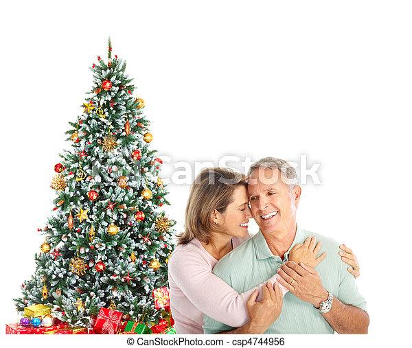 Christmas elderly couple - csp4744956