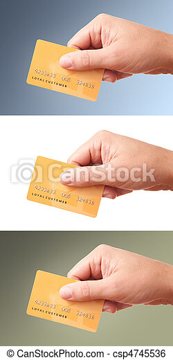 Big size images of hand holding plastic card, set of 3  - csp4745536