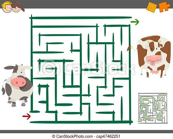 maze leisure game with cows - csp47462251