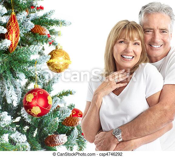 Christmas elderly couple - csp4746292
