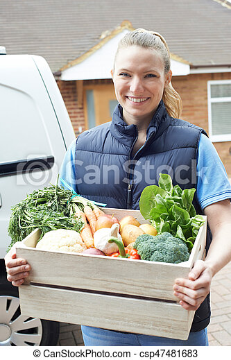 Woman Making Home Delivery Of Organic Vegetable Box - csp47481683