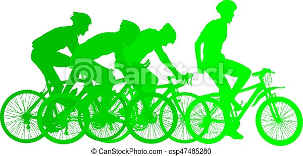 Silhouettes of racers on a bicycle, fight at the finish line - csp47485280