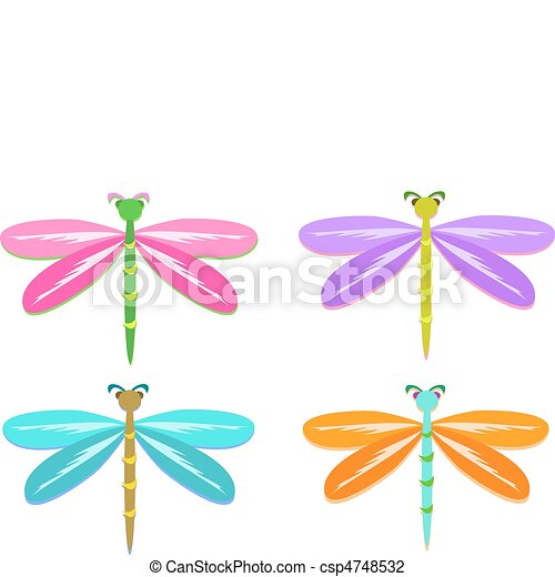 Mix of Colorful Dragonflies - csp4748532