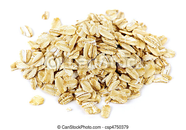 Pile of uncooked rolled oats - csp4750379