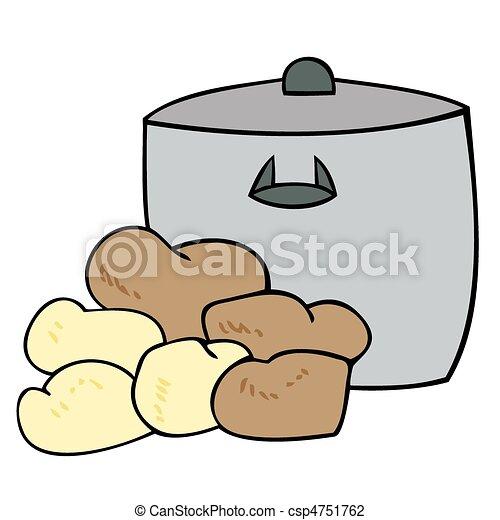 Cooking pot with potatoes. - csp4751762