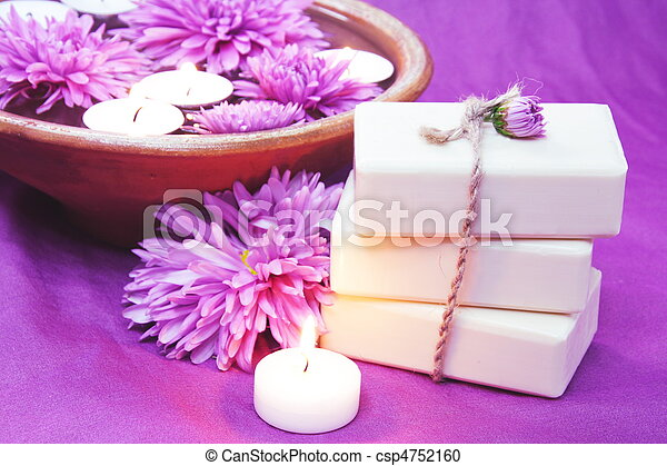 Herbal Soap, Aroma Bowl, Candles, Flowers - csp4752160