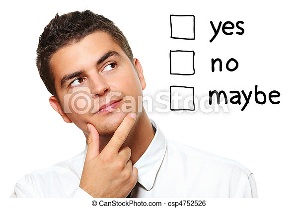 Young businessman trying to make a decision - csp4752526