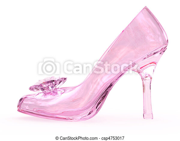 Pink crystal glass female shoe with flower - csp4753017