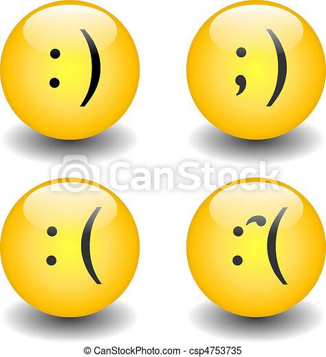 Vecteur clipart de triste smileys txt heureux a ensemble de csp4753735 - Dessins de smiley ...