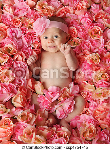 Baby in a bed of roses - csp4754745