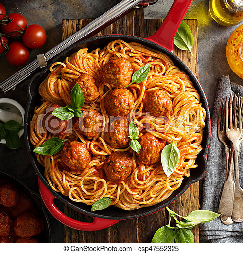 Spaghetti with tomato sauce and meatballs - csp47552325