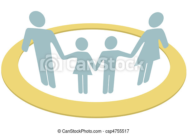 Family circle people safe inside security ring - csp4755517
