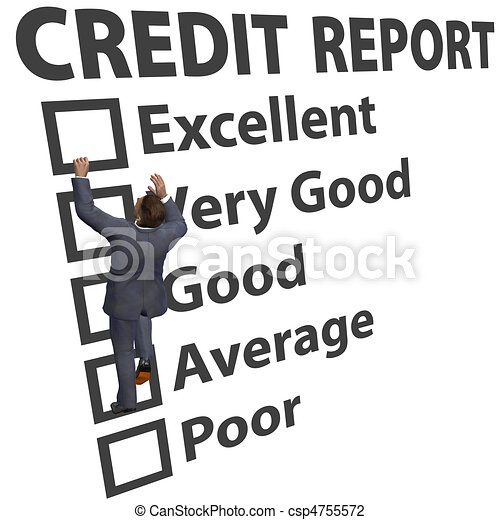 Business man build credit score rating up - csp4755572