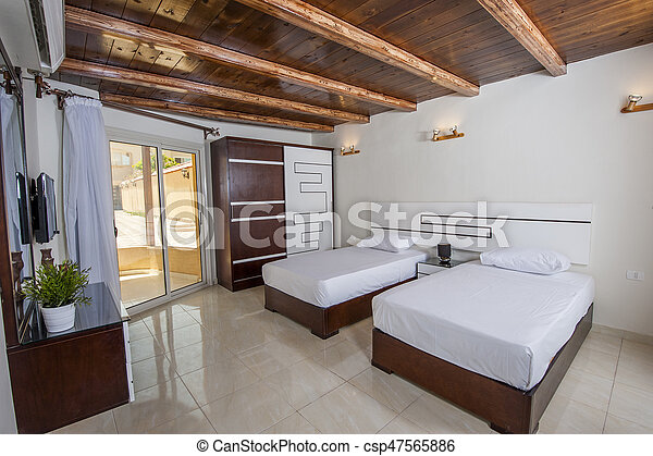 Interior design decor furnishing of luxury show home bedroom with furniture
