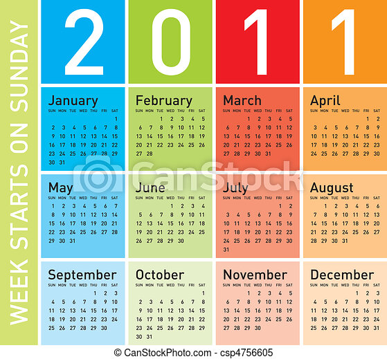 Colorful Calendar 2011 - csp4756605