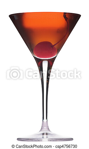 Rob Roy cocktail isolated on white background in martini glass - csp4756730