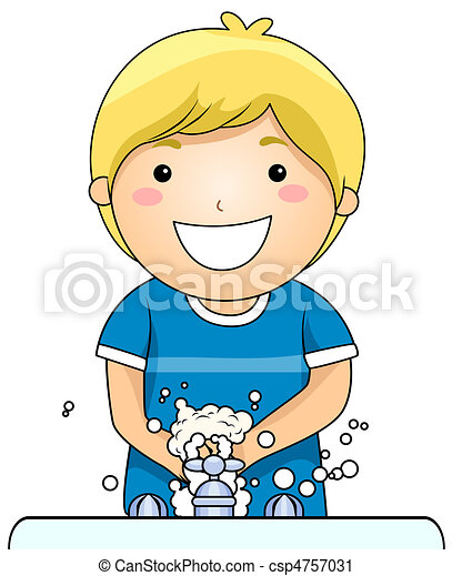 criança, lavando, mãos - csp4757031