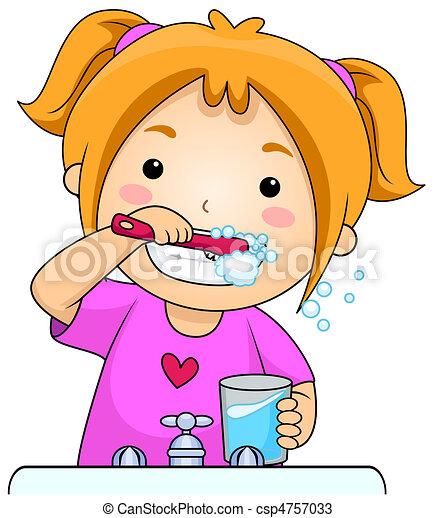 criança, Escovar, dentes - csp4757033