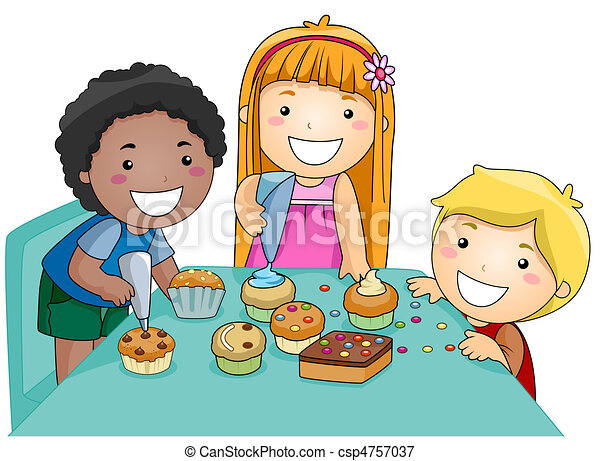 kids decorating cupcakes illustration of kids decorating