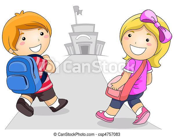 niños, yendo, a, escuela - csp4757083