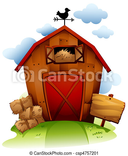 Clipart of Barn - Colorful Illustration Featuring a Barn with ...