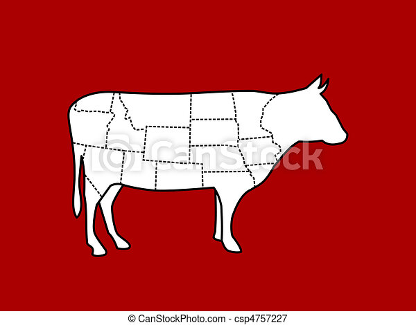 slices of cow body vector - csp4757227