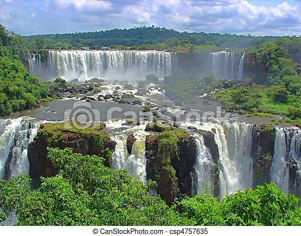 Huge Iguazu waterfalls - csp4757635