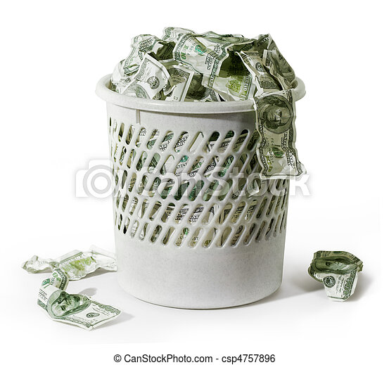 Rubbish with dollars - csp4757896