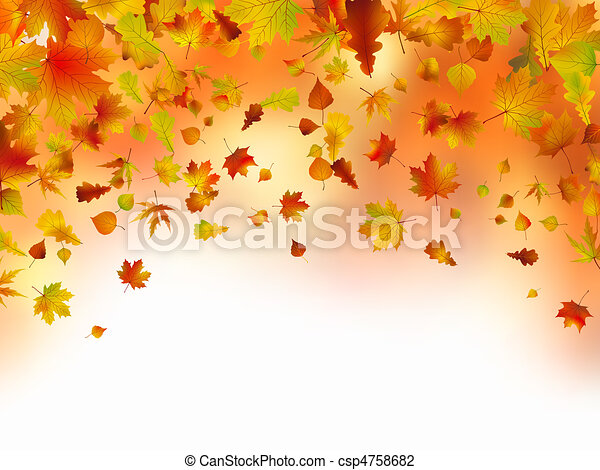 Vivid autumnal leaves frame for your text. - csp4758682