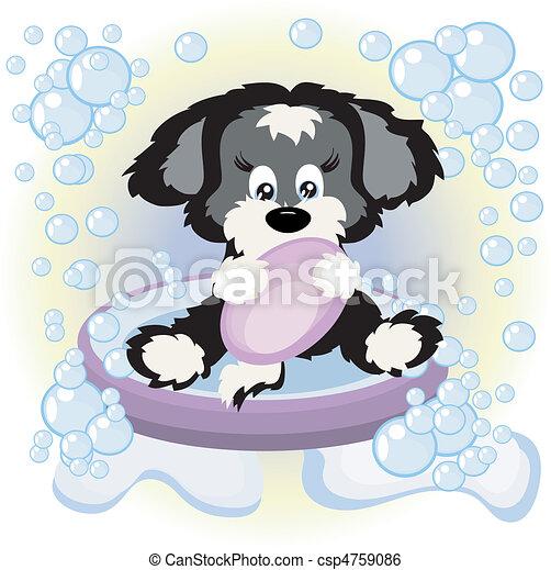 Puppy in the bath - csp4759086