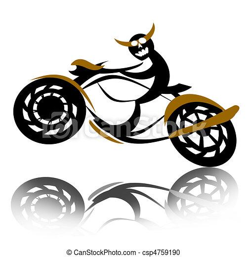 库存插图-魔鬼, 骑自行车的人, 摩托车