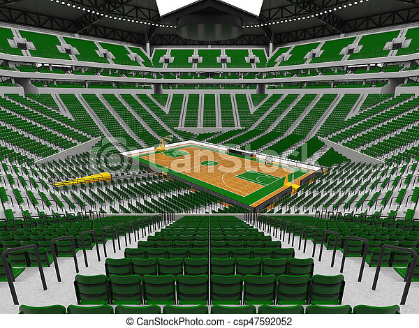 3D render of beautiful sports arena for basketball with floodlights , VIP boxes and green seats for twenty thousand fans