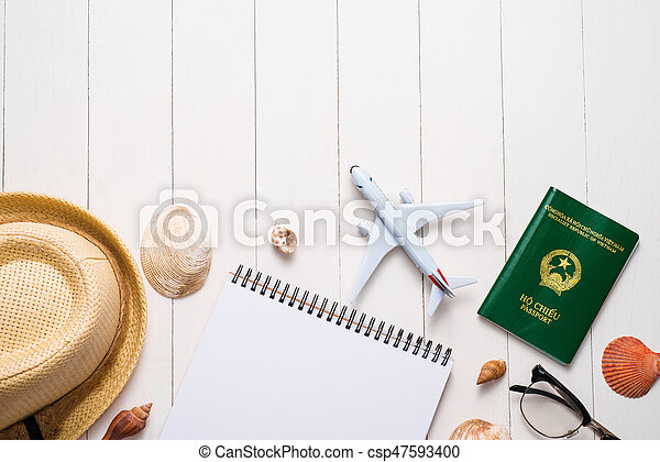 Vacation concept. Planning items for vacation trip. - csp47593400