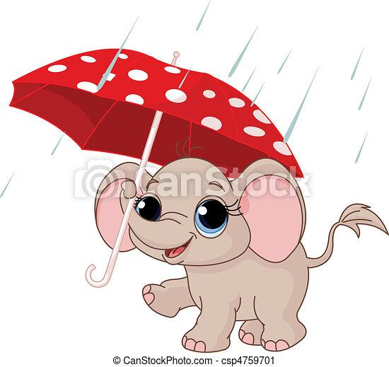 Cute baby elephant under umbrella - csp4759701