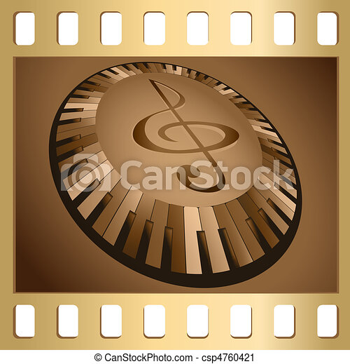 Keyboard and clef - csp4760421