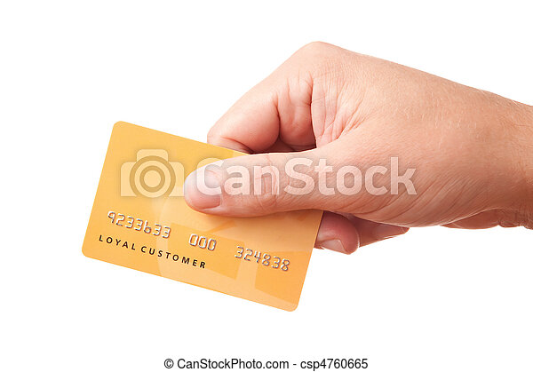 Hand holding unidentified plastic card - csp4760665