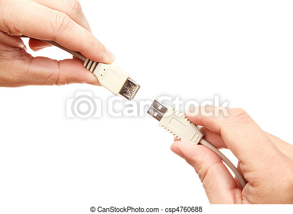 Hands connecting USB cables - csp4760688
