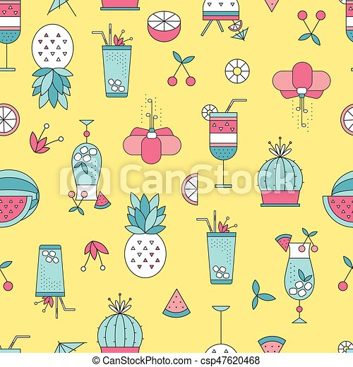 Summer beach seamless pattern - csp47620468
