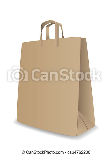 Vector Clipart of Vector paper bag - Vector illustration of paper ...